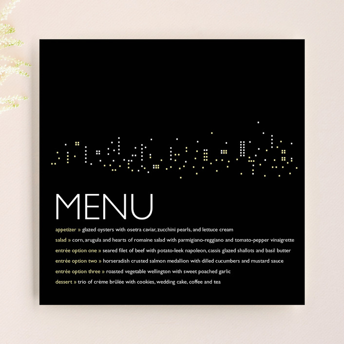 """Night Lights"" - Modern Menu Cards in Black Velvet by sweet street gals."
