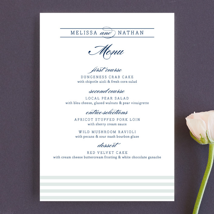 """Nautical"" - Preppy Menu Cards in White by Jill Means."