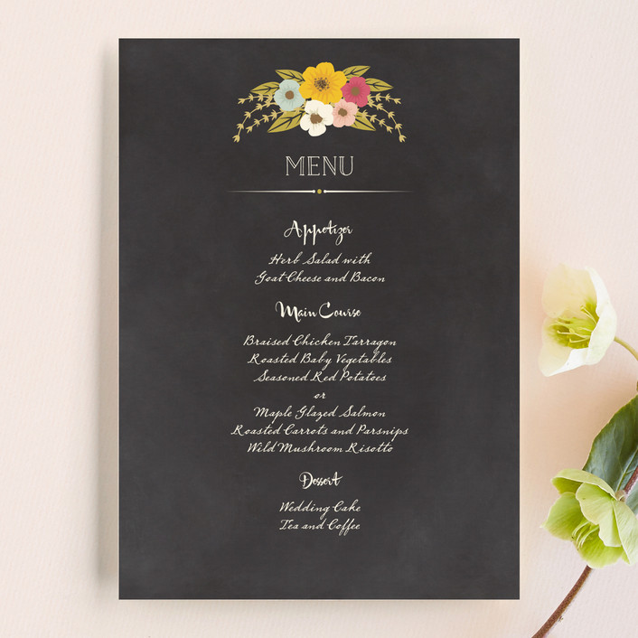 """Plentiful Blossoms"" - Floral & Botanical, Rustic Menu Cards in Soft Peach by Faiths Designs."