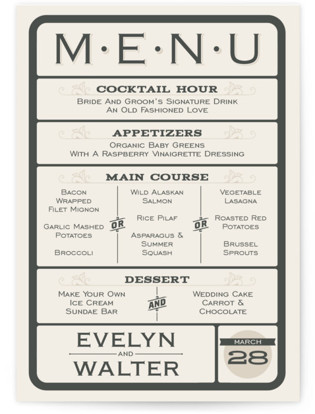A Blessed Union Menu