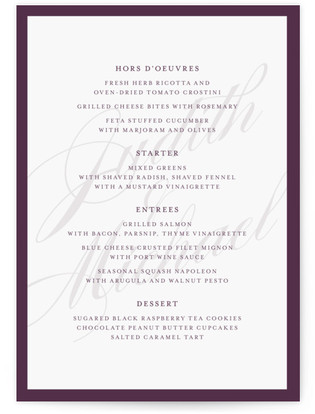 Framed Menu