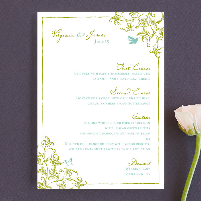 """""""Somerset"""" - Floral & Botanical, Formal Menu Cards in Spanish Moss by Paper Dahlia."""