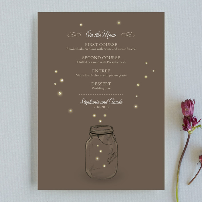 """Fireflies"" - Rustic, Whimsical & Funny Menu Cards in Zuni Brown by cadence paige design."