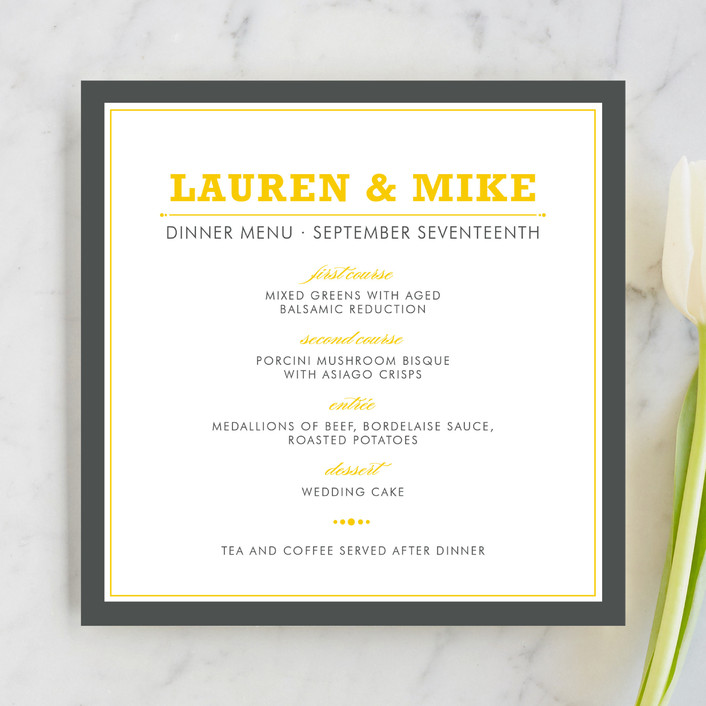 """""""Cocktail Hour"""" - Simple, Modern Menu Cards in Yellow by Ariel Rutland."""