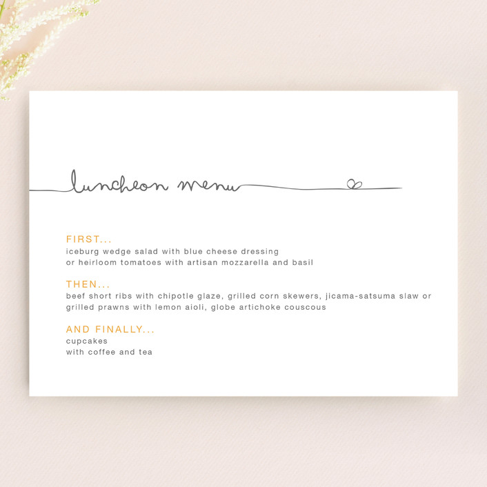 """""""The Happy Couple"""" - Simple, Modern Menu Cards in Tangerine by R studio."""
