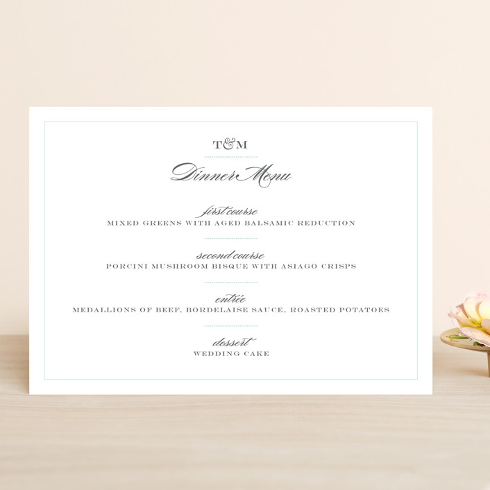 """""""Charming Go Lightly"""" - Classical, Vintage Menu Cards in Sky by danielleb."""