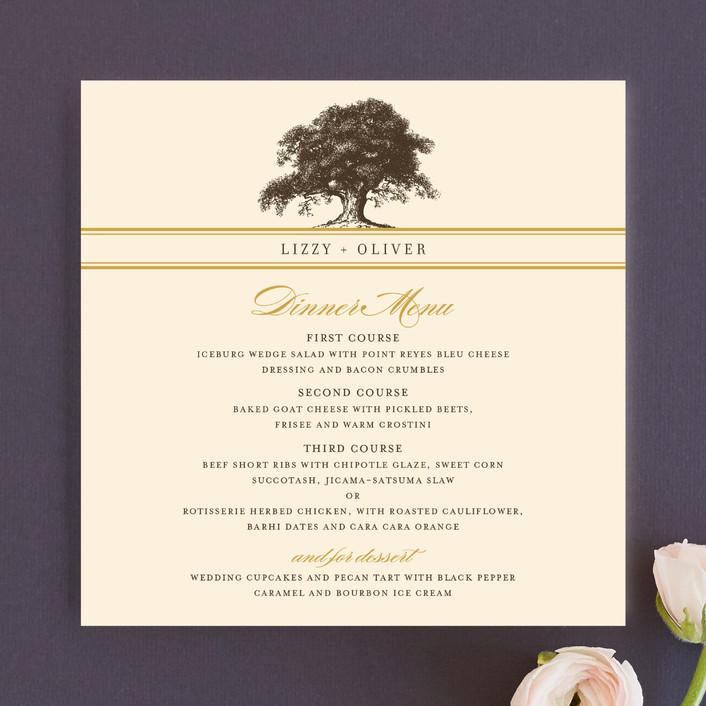 """""""Oak Tree"""" - Classical, Floral & Botanical Menu Cards in Butterscotch by annie clark."""