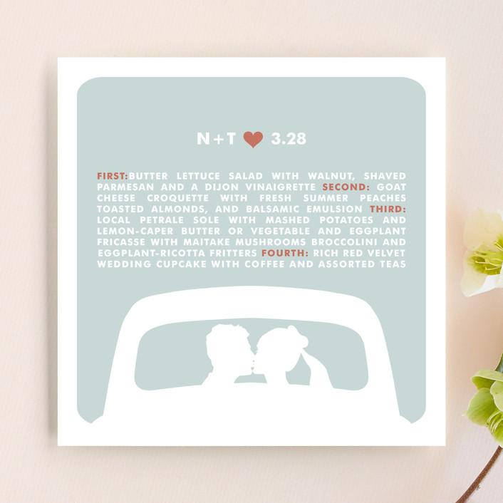 """""""just married"""" - Modern, Simple Menu Cards in Cloud Blue by Three Kisses Studio."""