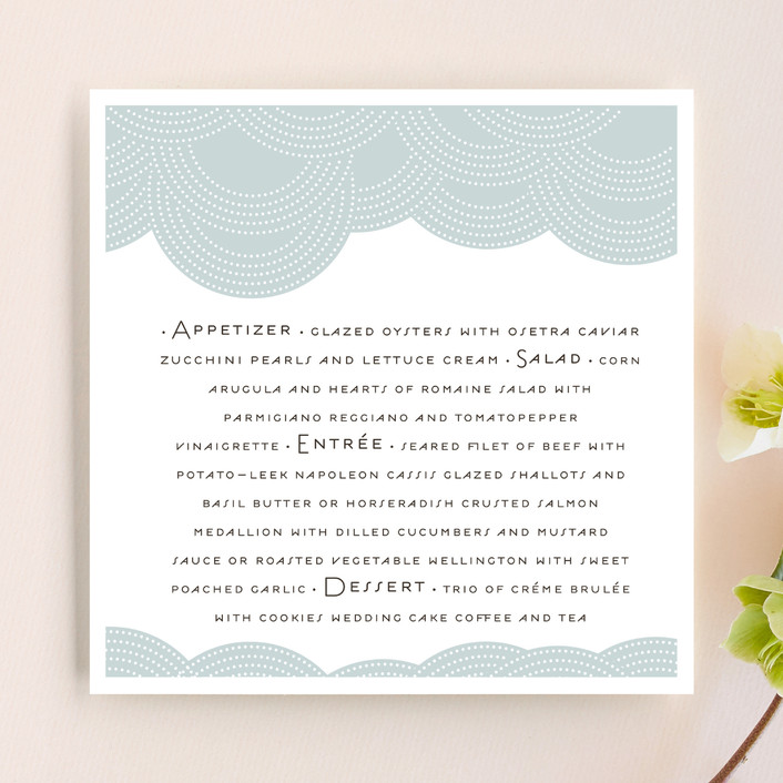 """""""Pearls on a String"""" - Destination Menu Cards in Slate by annie clark."""