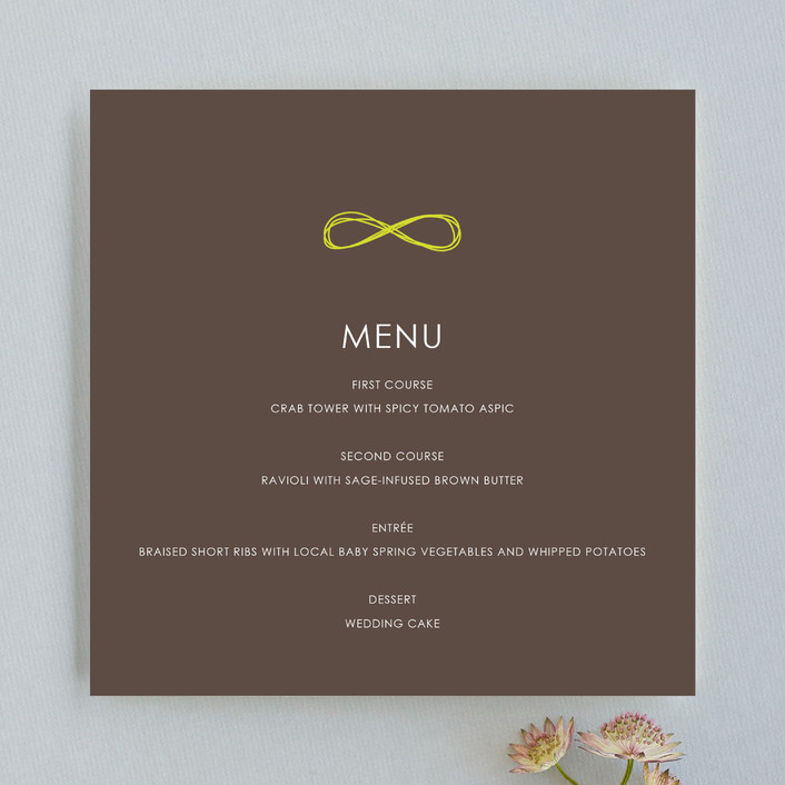 """Infinite"" - Formal Menu Cards in Bister by The AV Design Factory."