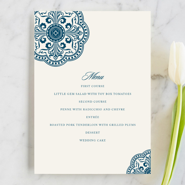 """""""Ornamental"""" - Menu Cards in Sapphire by Paperview Designs."""