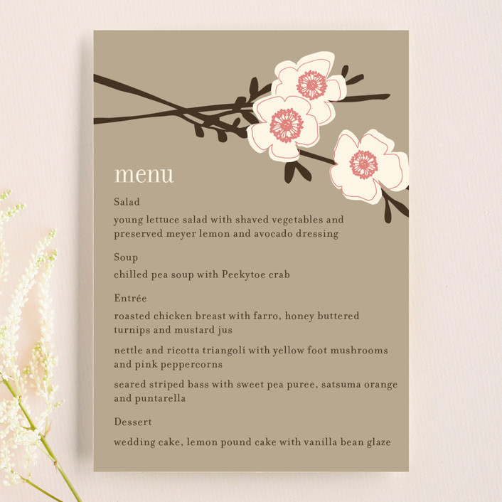 """Apple Blossom"" - Floral & Botanical, Rustic Menu Cards in Petal Pink by annie clark."