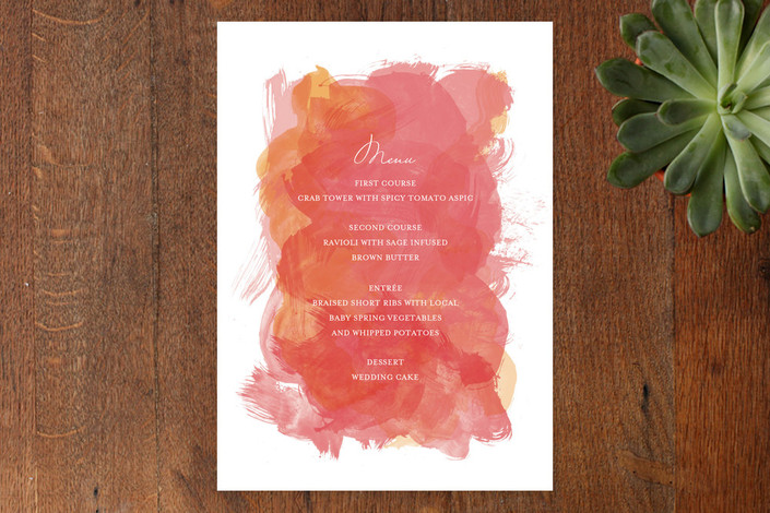 """Aquarelle"" - Elegant, Beach Menu Cards in Apricot Rose by Paper Plains."