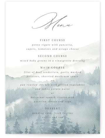 Over the mountains Menu