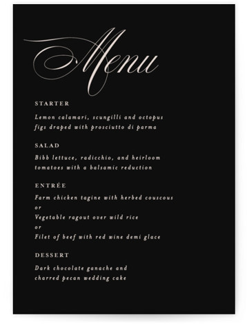 front and center Menu