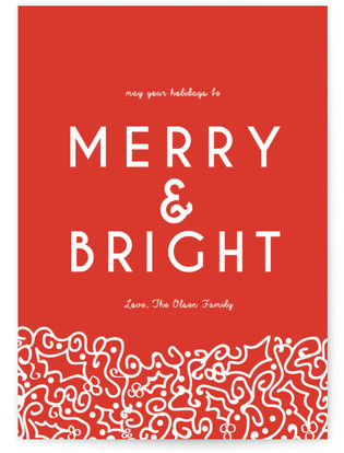 Merry and Bright Holly Self-Launch Cards