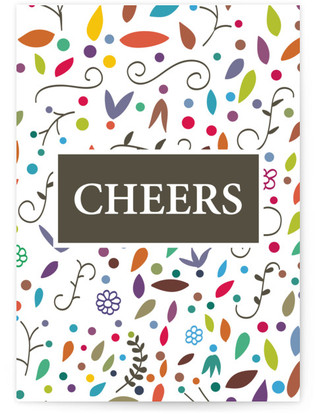 cheers with dots & leaves Self-Launch Cards