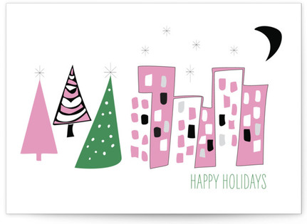Mid-Century Modern Holiday Card Self-Launch Cards