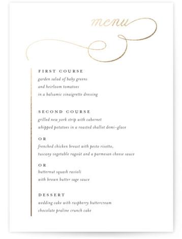 Elegant Flourish Foil-Pressed Menus