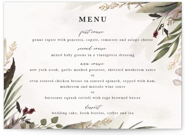 Roses & Greenery Foil-Pressed Menus