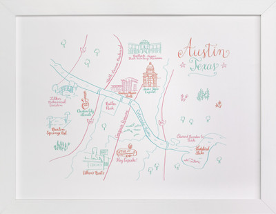 Austin, Texas Calligraphy Map  Art Print