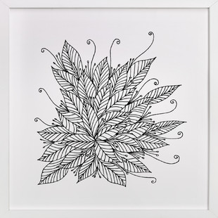 Doodle swirl &leaves  Art Print