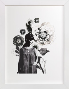 Black Peony  Art Print