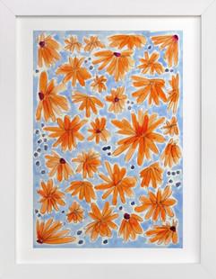 Tangerine Flora  Art Print