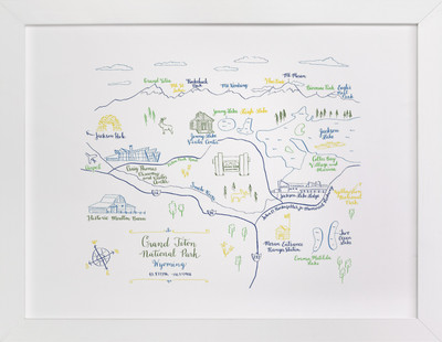 Grand Teton National Park Map  Art Print