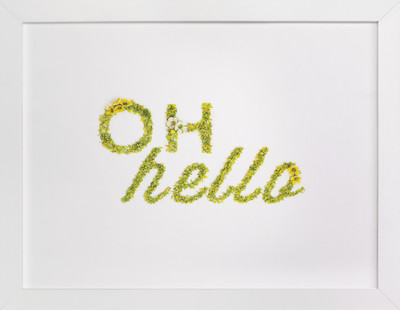 Oh Hello Floral Typography  Art Print
