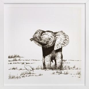 Elephant and bird  Art Print