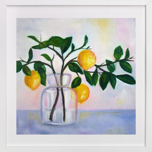 Lemon Branch Still Life  Art Print