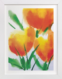 Zesty Orange Tulips  Art Print