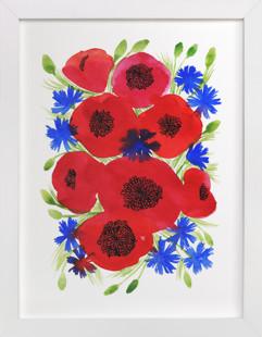 Wild watercolor flowers  Art Print