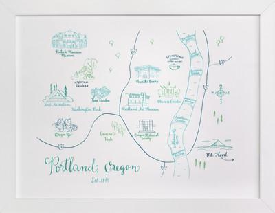 Portland, Oregon Calligraphy Map  Art Print