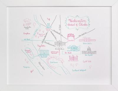 Washington, DC Calligraphy Map  Art Print