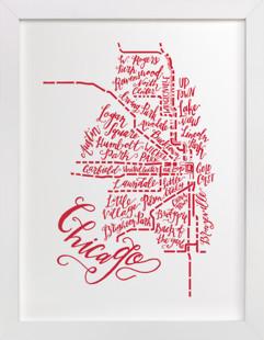Chicago Typographic Map  Art Print