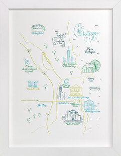 Chicago Calligraphy Map  Art Print