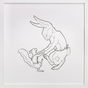 Squirrel & Rabbit Self-Launch Children's Art Print