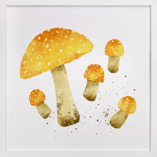 Yellow Mushrooms (Fly agaric) Self-Launch Children's Art Print