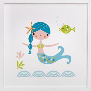 Blue Mermaid Self-Launch Children's Art Print