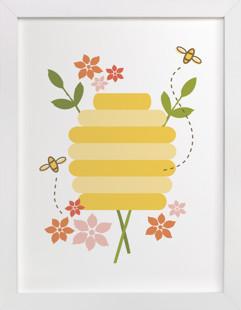 Buzzing Beehive Self-Launch Children's Art Print