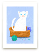 White Cat in the Basket
