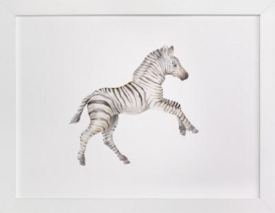 Watercolor Zebra foal takes off! Self-Launch Children's Art Print