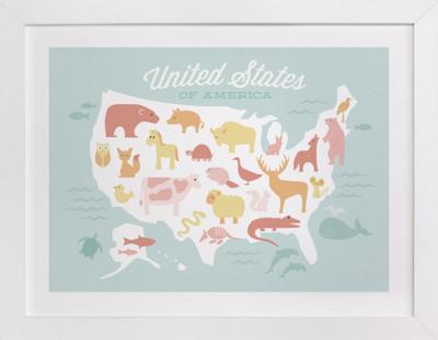Animal American Map Self-Launch Children's Art Print