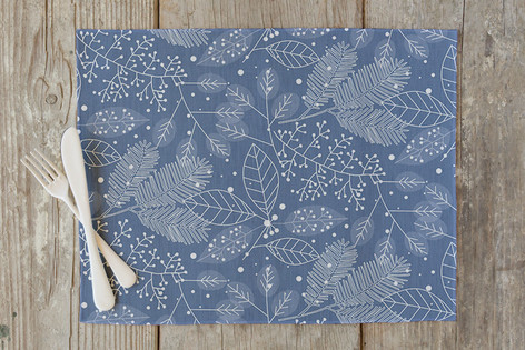 Frosted Winter Fabric Self Launch Placemats