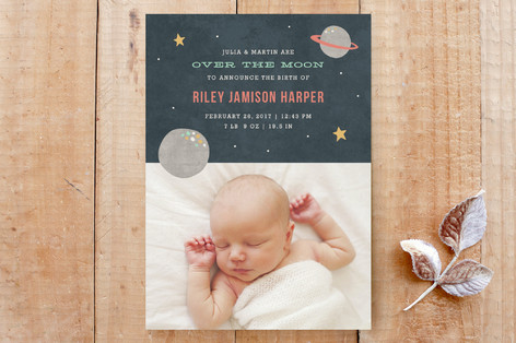 Over the Moon Birth Announcement Custom Stationery