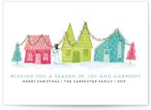 Retro Christmas Town Custom Stationery