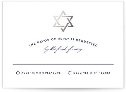 Silver Mitzvah Foil-Pressed Mitzvah RSVP Cards