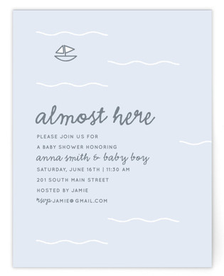 Almost here Self-Launch Baby Shower Invitations